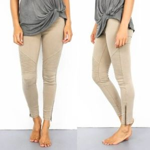 Pants - Khaki Moto Leggings with Ankle Zipper